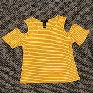 Cold Shoulder Cropped Yellow Top